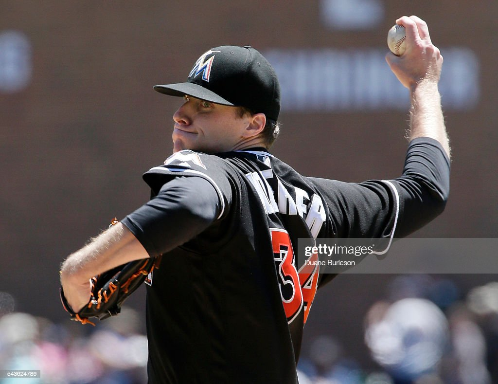 Tom Koehler #34 of the Miami Marlins pitches against the Detroit Tigers during the first inning at Comerica Park on June 29, 2016 in Detroit, Michigan.