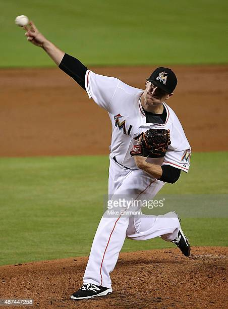 Tom Koehler of the Miami Marlins pitches during a a game against the Milwaukee Brewers at Marlins Park on September 9 2015 in Miami Florida