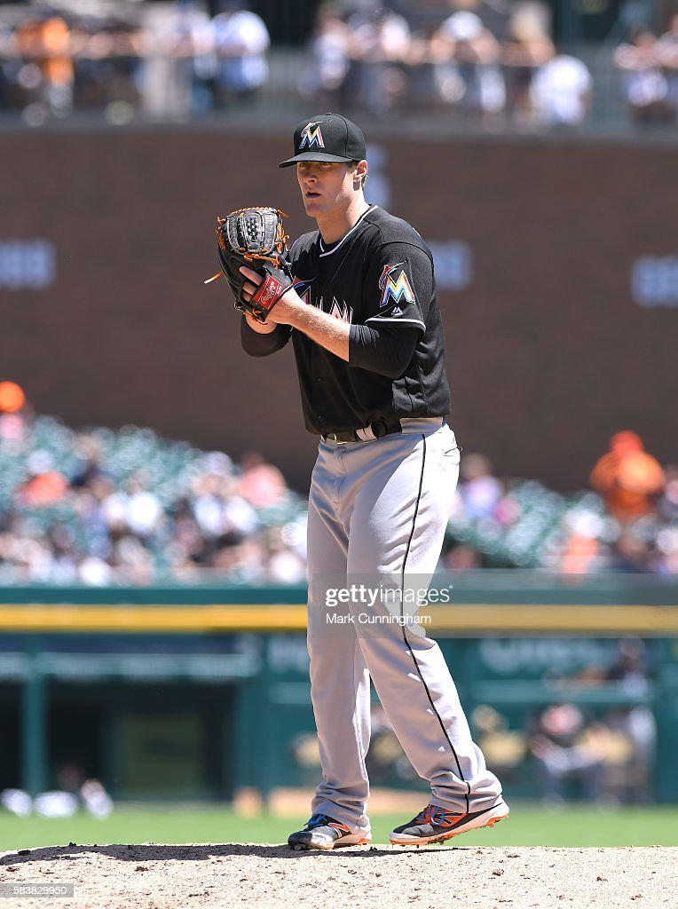 Tom Koehler #34 of the Miami Marlins pitches during the game against the Detroit Tigers at Comerica Park on June 29, 2016 in Detroit, Michigan. The Tigers defeated the Marlins 10-3.