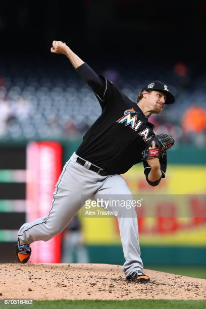 Tom Koehler of the Miami Marlins pitches during the game against the Washington Nationals at Nationals Park on Thursday April 6 2017 in Washington DC