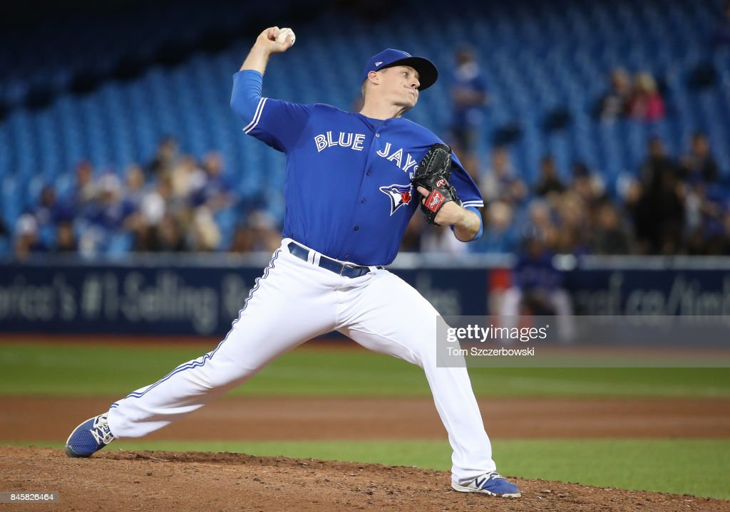 Tom Koehler #34 of the Toronto Blue Jays delivers a pitch in the seventh inning during MLB game action against the Baltimore Orioles at Rogers Centre on September 11, 2017 in Toronto, Canada.