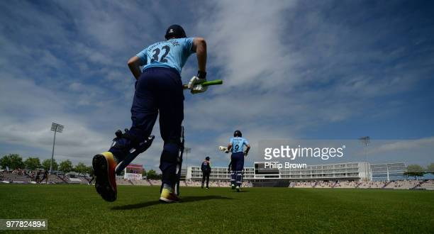 Tom KohlerCadmore and Adam Lyth of Yorkshire Vikings enter the field during the Royal London OneDay Cup SemiFinal match between Hampshire and...
