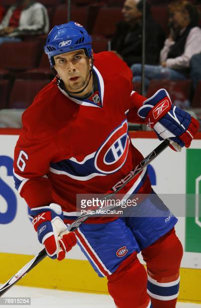 Tom Kostopoulos of the Montreal Canadiens skates against the Pittsburgh Penguins during a pre-season game on September 17, 2007 at the Bell Centre in...