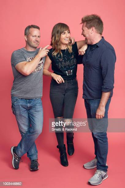 Tom Krajewski Alison Haislip and Alex Albrecht from 'Half Hour Happy Hour' podact pose for a portrait at the Getty Images Portrait Studio powered by...