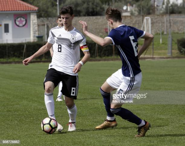 Tom Kraus of Germany in action during the Germany vs Scotland U17 European Championship Elite round at Etniko Stadio Nafpaktou on March 27 2018 in...