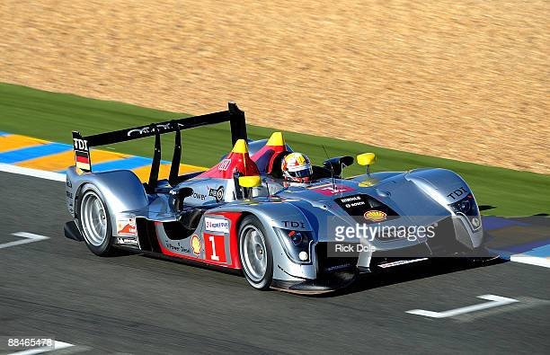Tom Kristensen driving the Audi Sport Team Joest Audi R15 during warmup prior to the 77th running of the Le Mans 24 Hour race at the Circuit des 24...