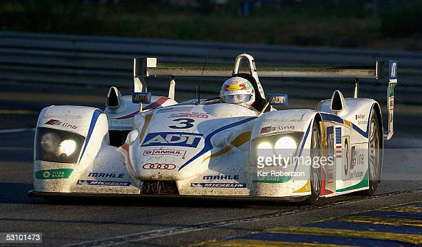 Tom Kristensen of Denmark drives the Champion Racing Audi R8 during the Le Mans 24 Hour Race at the Circuit Des 24 Heures Du Mans on June 19 2005 in...