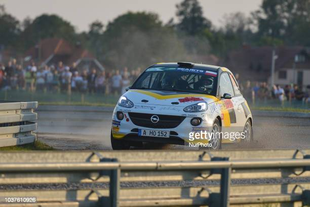 Tom Kristensson and Henrik Appelskog from ADAC Opel Rallye Junior Team on Opel Adam R2 during the Special Stage of 25km in Mikolajki Arena on Day One...