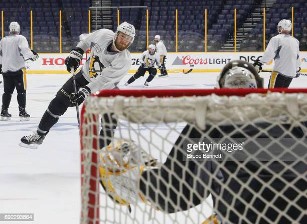 Tom Kuhnhackl of the Pittsburgh Penguins skates in on the net during practice at the Bridgestone Arena on June 4 2017 during the 2017 NHL Stanley Cup...
