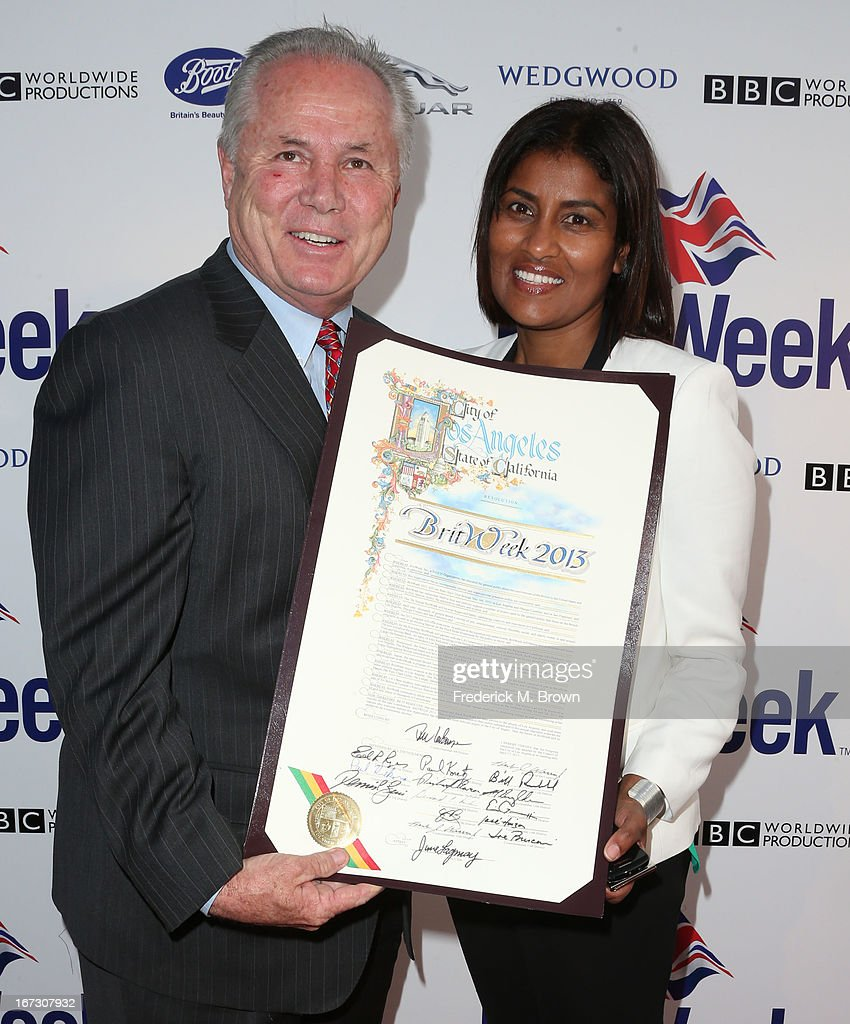 Tom LaBonge (L) and Kamilla Blanche attend the launch of the Seventh Annual Britweek Festival 'A Salute to Old Hollywood' on April 23, 2013 in Los Angeles, California.