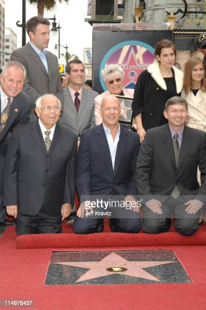 Tom LaBonge Ben Affleck Johnny Grant Bruce Willis and his mother Marlene Scout Willis Tallulah Willis and Leron Gubler president of Hollywood Chamber...
