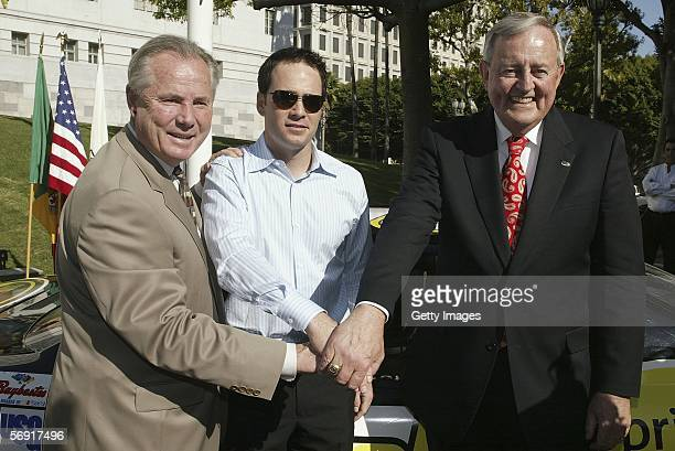 Tom Labonge Counicil member Fourth District NASCAR race car driver Jimmie Johnson winner of the 2006 Daytona 500 and Thomas McKernan Jr president of...
