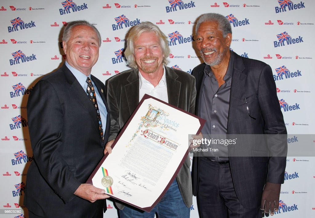 Tom LaBonge, Richard Branson and Morgan Freeman arrive to the BritWeek 2010 charity event: 'Save The Children And Virgin Unite' held at the Beverly Wilshire hotel on April 22, 2010 in Beverly Hills, California.