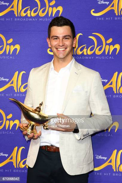 Tom Lacey arrives ahead of Aladdin opening night at Her Majesty's Theatre on April 20 2017 in Melbourne Australia
