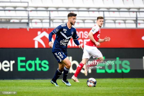 Tom LACOUX of Bordeaux during the Ligue 1 match between Reims and Girondins Bordeaux at Stade Auguste Delaune on May 23, 2021 in Reims, France.