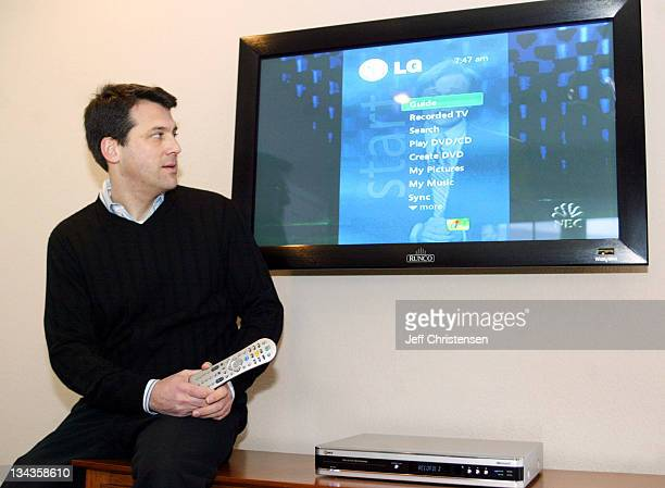 Tom Laemmel of Microsoft shows the new LG Electronics DVD/DVR recorder that is on display at Microsoft's NextGen05 Digital Home at the International...