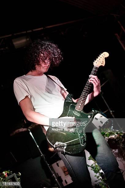 Tom Lamb of Japanese Voyeurs performs on stage at Cockpit on November 8, 2011 in Leeds, United Kingdom.