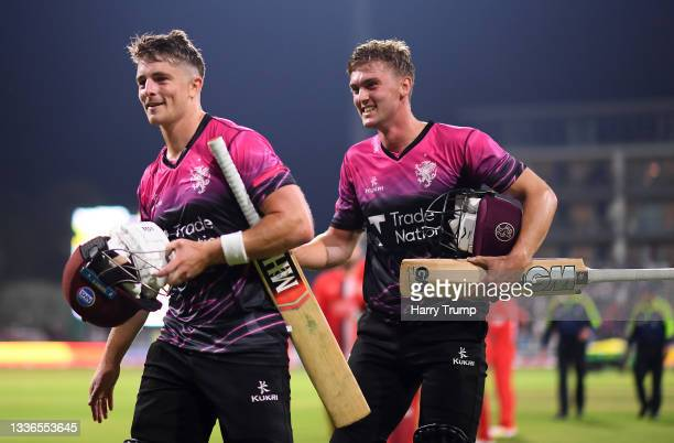 Tom Lammonby and Tom ABell of Somerset celebrates after hitting the winning runs during the Vitality T20 Blast Quarter Final match between Somerset...