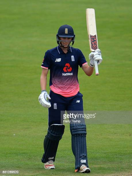Tom Lammonby of England U19 celebrates his half century during the 4th ODI match between England U19's and India U19's at The County Ground on August...