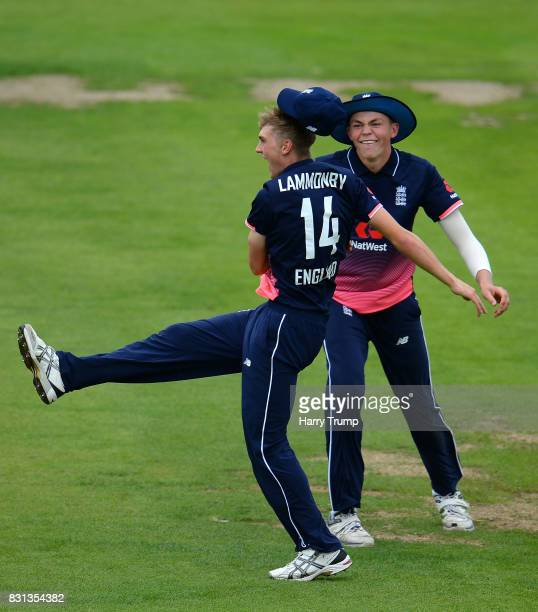Tom Lammonby of England U19s celebrates after taking a catch to dismiss Shubman Gill of India bats during the 4th ODI match between England U19's and...