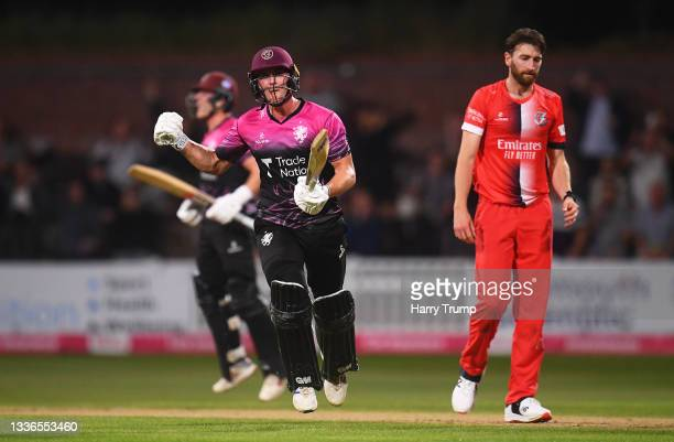 Tom Lammonby of Somerset celebrates after hitting the winning runs during the Vitality T20 Blast Quarter Final match between Somerset CCC and...
