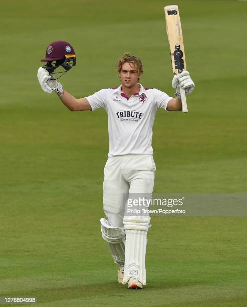 Tom Lammonby of Somerset celebrates reaching his century during the Bob Willis Trophy Final between Somerset and Essex at Lord's Cricket Ground on...