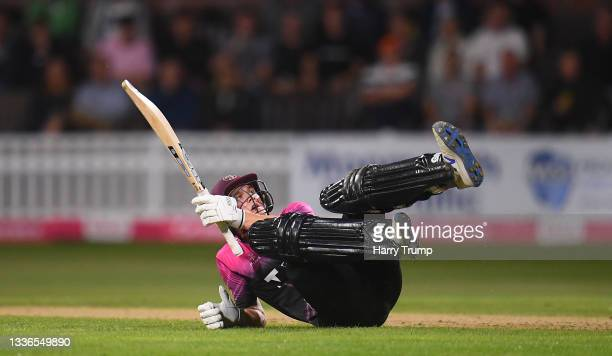 Tom Lammonby of Somerset plays a shot for six during the Vitality T20 Blast Quarter Final match between Somerset CCC and Lancashire Lightning at The...