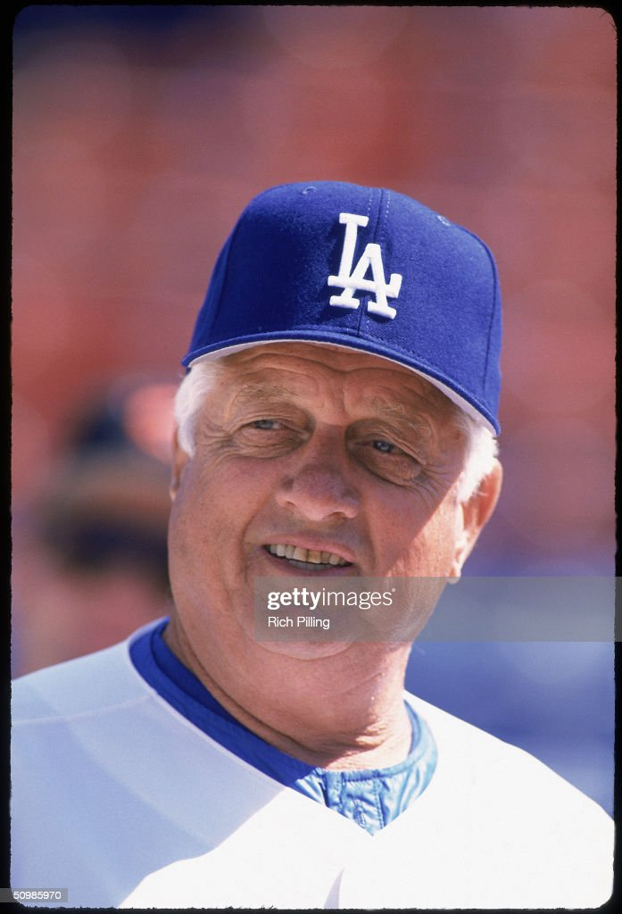 Tom Lasorda #2 of the Los Angeles Dodgers poses for a portrait.