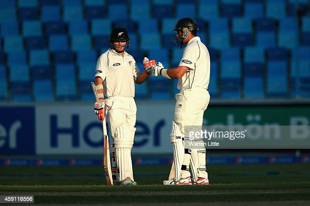 Tom Latham and Ross Taylor of New Zealand have a chat in the centre of the wicket during day one of the second test between Pakistan and New Zealand...