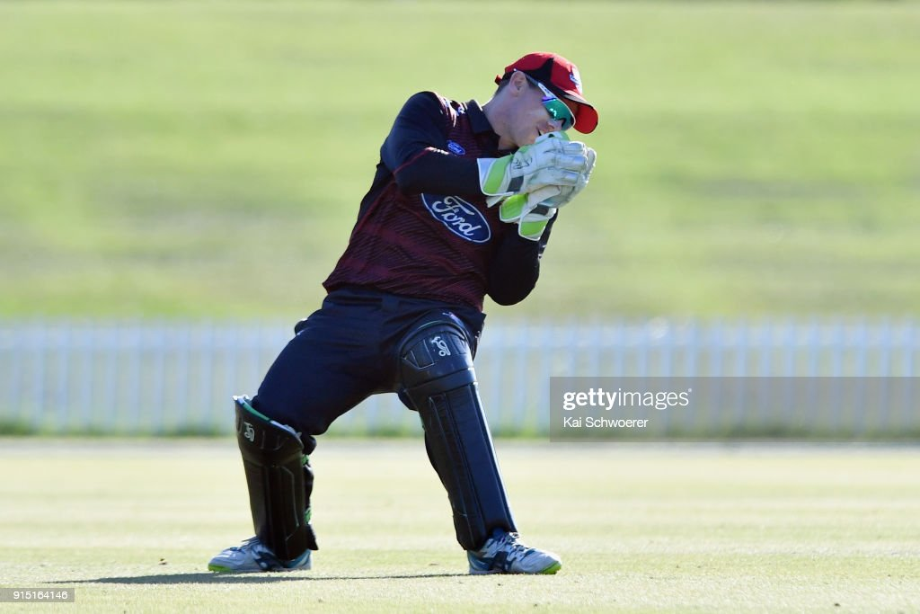 Tom Latham of Canterbury takes a catch to dismiss Lockie Ferguson of the Auckland Aces during the One Day Ford Trophy Cup match between Canterbury and Auckland on February 7, 2018 in Christchurch, New Zealand.