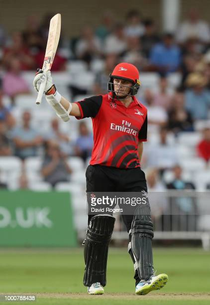 Tom Latham of Durham celebrates his half century on his way to an unbeaten 98 during the Vitality Blast match between Nottinghamshire Outlaws and...