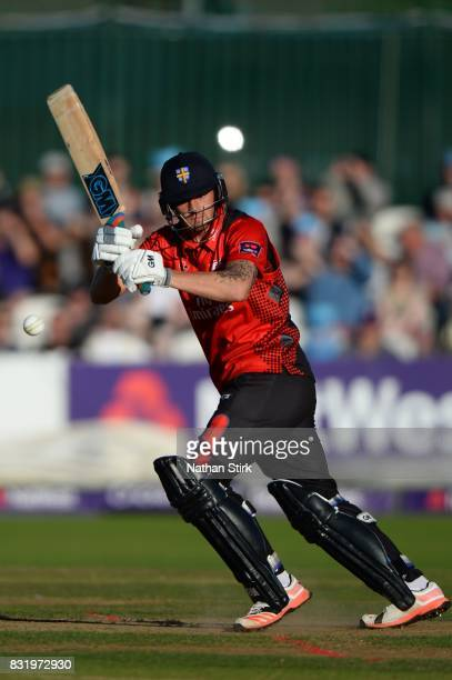 Tom Latham of Durham Jets in action during the NatWest T20 Blast match between Derbyshire Falcons and Durham Jets at The 3aaa County Ground on August...