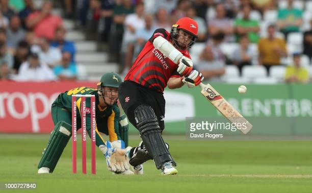 Tom Latham of Durham pulls the ball for four runs during the Vitality Blast match between Nottinghamshire Outlaws and Durham Jets at Trent Bridge on...