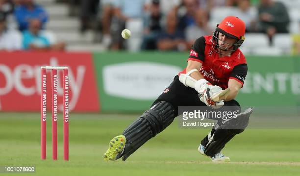 Tom Latham of Durham reverse sweeps the ball for four runs during the Vitality Blast match between Nottinghamshire Outlaws and Durham Jets at Trent...