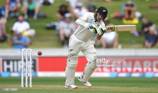Tom Latham of New Zealand bats during day 1 of the second Test match between New Zealand and England at Seddon Park on November 29, 2019 in Hamilton,...