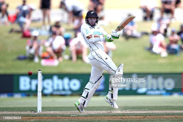Tom Latham of New Zealand bats during day four of the First Test match in the series between New Zealand and Pakistan at Bay Oval on December 29,...