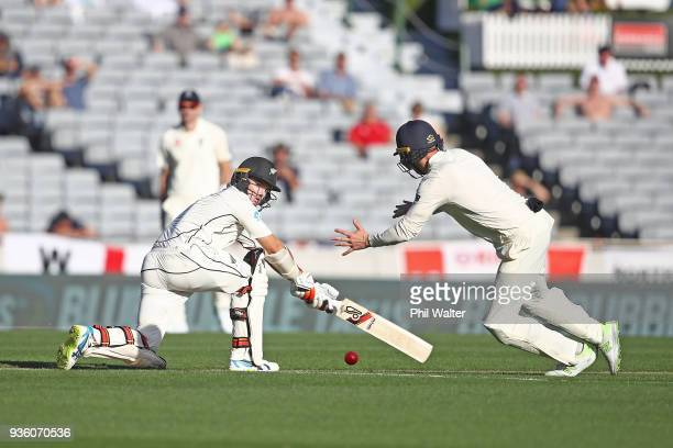 Tom Latham of New Zealand bats during day one of the First Test match between New Zealand and England at Eden Park on March 22 2018 in Auckland New...