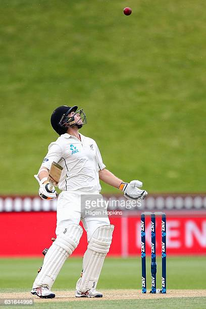 Tom Latham of New Zealand bats during day three of the First Test match between New Zealand and Bangladesh at Basin Reserve on January 14 2017 in...