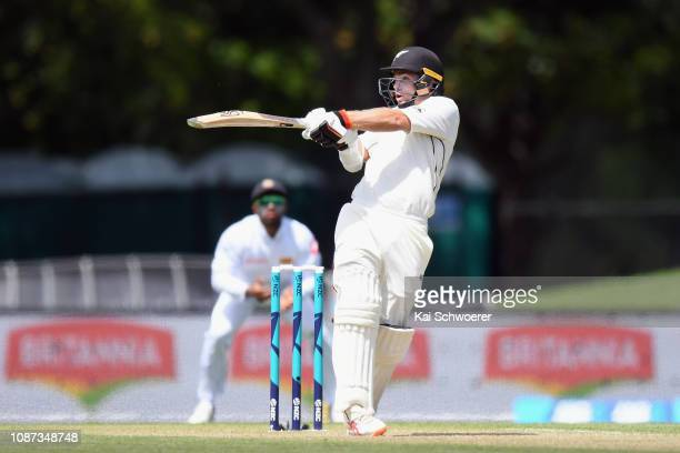 Tom Latham of New Zealand bats during day three of the Second Test match in the series between New Zealand and Sri Lanka at Hagley Oval on December...