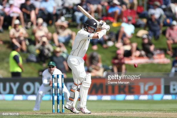 Tom Latham of New Zealand bats during day two of the First Test match between New Zealand and South Africa at University Oval on March 9 2017 in...