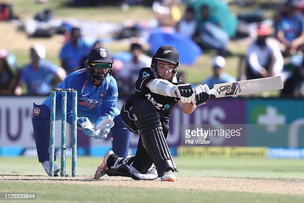 Tom Latham of New Zealand bats during game three of the One Day International series between New Zealand and India at Bay Oval on January 28 2019 in...