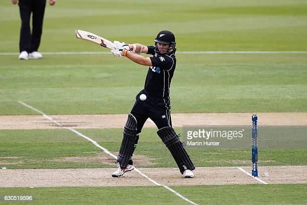 Tom Latham of New Zealand bats during the first One Day International match between New Zealand and Bangladesh at Hagley Oval on December 26 2016 in...