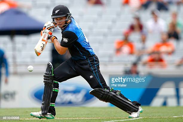 Tom Latham of New Zealand bats during the One Day International match between New Zealand and Sri Lanka at Eden Park on January 17 2015 in Auckland...