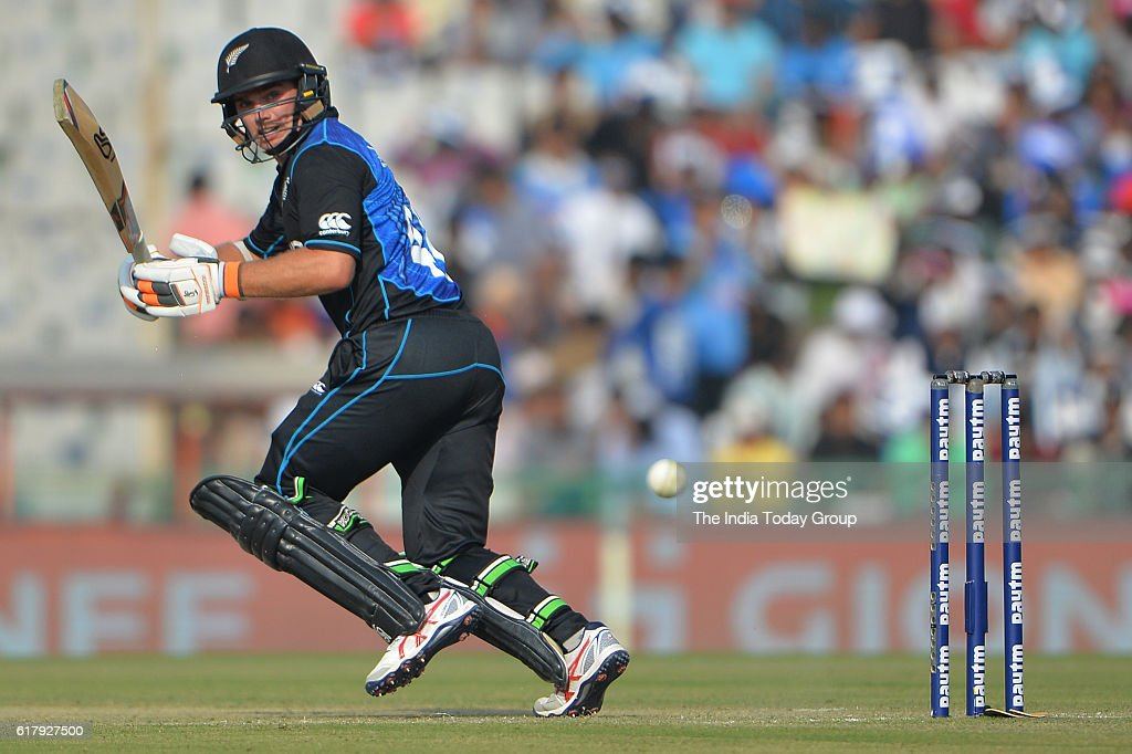 Tom Latham of New Zealand bats during the third one-day international cricket match against New Zealand in Mohali.