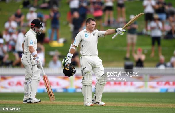 Tom Latham of New Zealand celebrates reaching his century during day 1 of the second Test match between New Zealand and England at Seddon Park on...