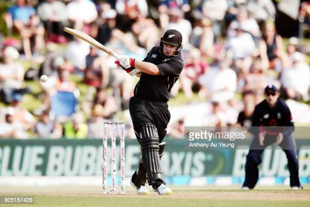 Tom Latham of New Zealand hits a four during game two of the One Day International series between New Zealand and England at Bay Oval on February 28...