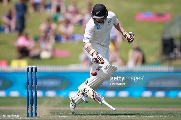 Tom Latham of New Zealand looses his bat as he makes his ground during day two of the Second Test match between New Zealand and Sri Lanka at Seddon...