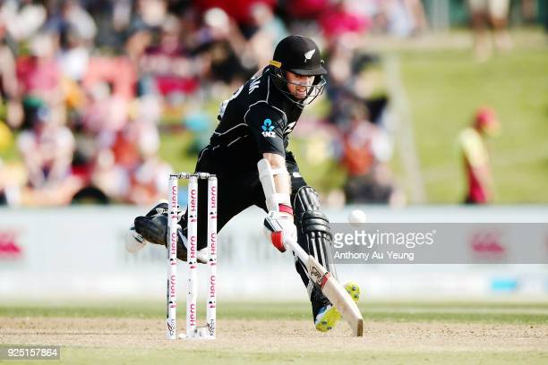 Tom Latham of New Zealand makes it to his crease during game two of the One Day International series between New Zealand and England at Bay Oval on...