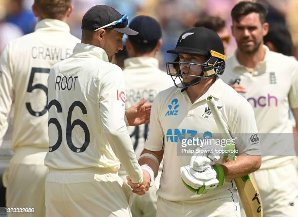Tom Latham of New Zealand shakes hands with Joe Root of England after New Zealand won the second LV= Test match at Edgbaston on June 13, 2021 in...
