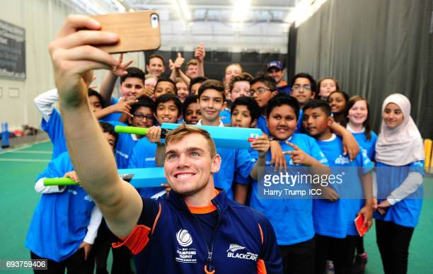 Tom Latham of New Zealand takes a selfie during the ICC Champions Trophy Ambassador Shane Bond event at SWALEC Stadium on June 8 2017 in Cardiff Wales